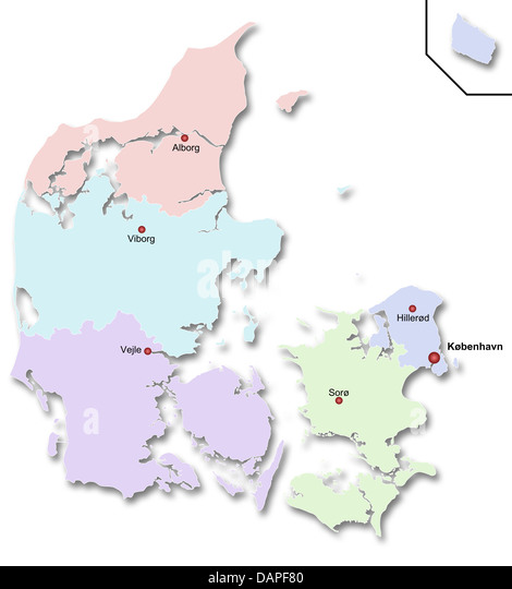 Map of Denmark - Stock Image