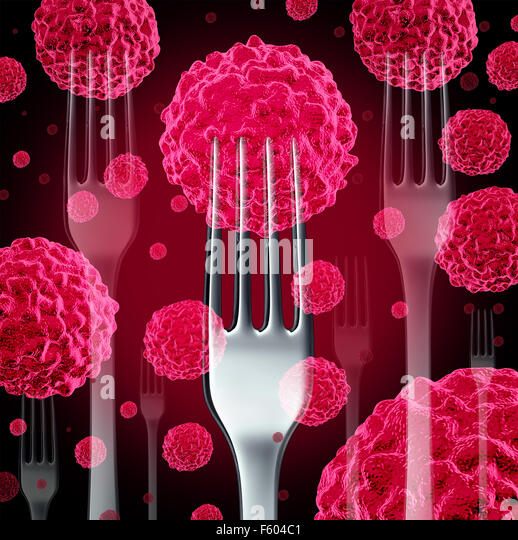 Food cancer concept as a group of cancerous cells with dinner forks as a diet health risk metaphor for the danger. - Stock-Bilder