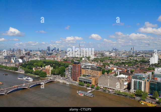 Skyline of London looking East as seen from The Millbank Tower - Stock Image