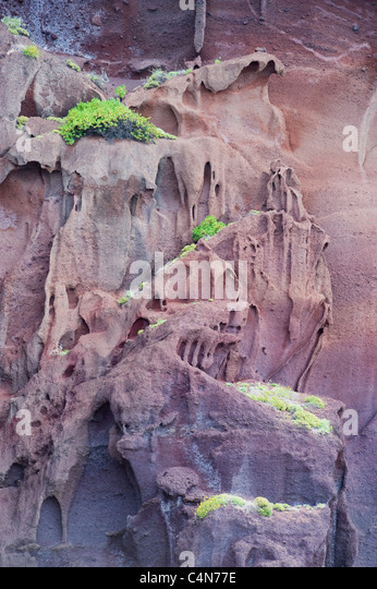 Eroded Volcanic Ash cliffs, Las Desertas Islands, Madeira, Protected dry islands - Stock Image