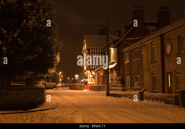 Moulton at night under snow. - Stock Image