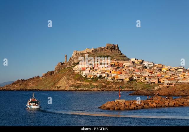 Italy Sardinia Castelsardo village fishing boat - Stock Image