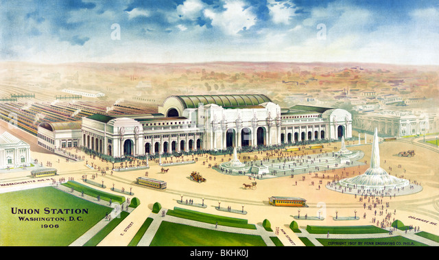 Vintage print c1906 showing an aerial view of Union Station in Washington DC as it would appear when it was completed - Stock Image