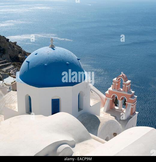 Church in Oia on the island of Santorini in Greece. - Stock Image