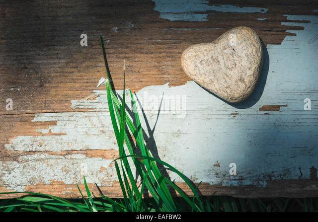 Stone heart shape on wood. Green grass - Stock Image