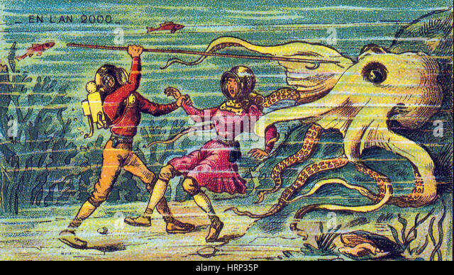 Octopus Attack, 1900s French Postcard - Stock Image
