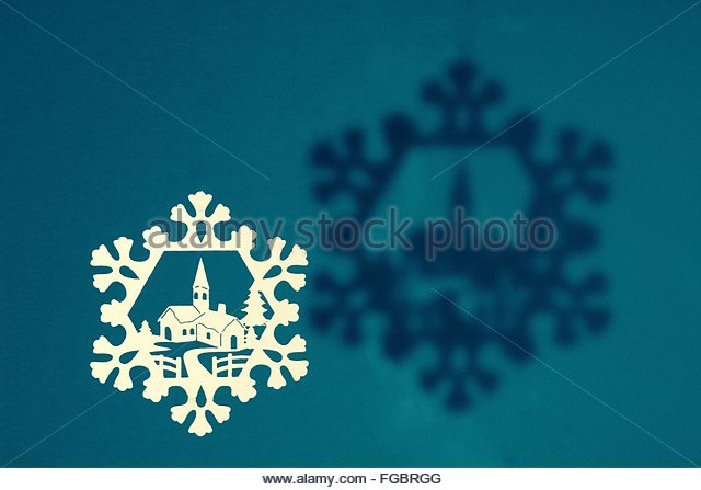 Abstract Image Of Snowflake And House - Stock-Bilder
