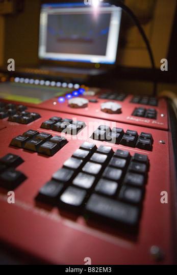 lighting console for concert lighting design, lighting designer studio - Stock Image