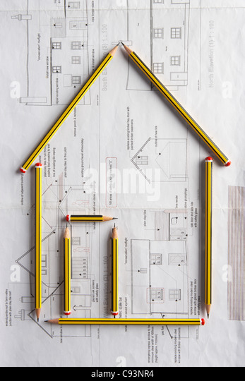 Architectural drawing and pencils - Stock-Bilder