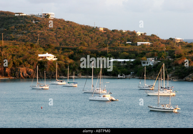 St. Thomas USVI West Gregerie Channel Water Island boats sailboats homes hill - Stock Image