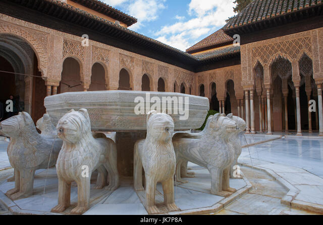 Court Lions In Alhambra Palace Stock Photos & Court Lions In Alhambra Pal...
