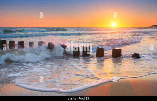 Baltic Sea at sunset, Pomerania, Poland - Stock Image