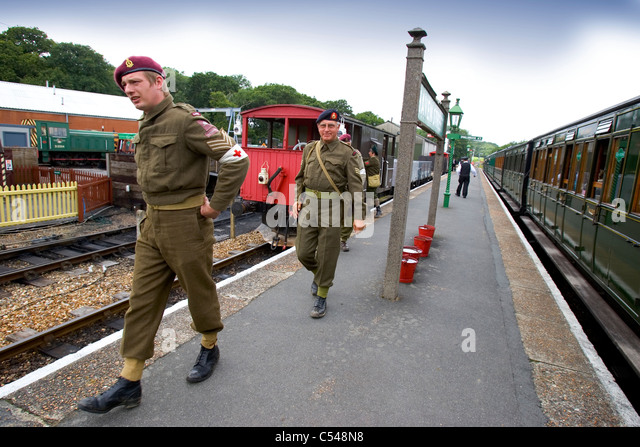 1940s weekend Isle of Wight Steam Railway - Stock Image