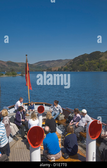 Tourists enjoying a steamer trip on Lake Ullswater, Lake Distrtict National Park, Cumbria, England, United Kingdom, - Stock Image