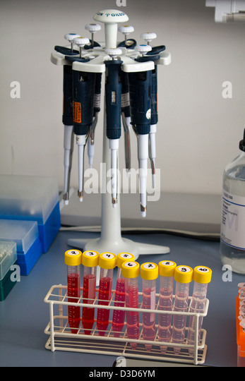 Berlin, Germany, different levels of selected aptamers in test tubes - Stock Image