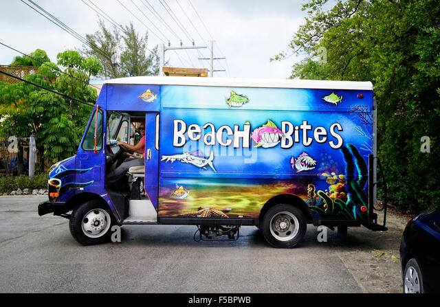 Beach Bites food truck outside of the HogFish Bar & Grill Key West, Florida, USA - Stock Image