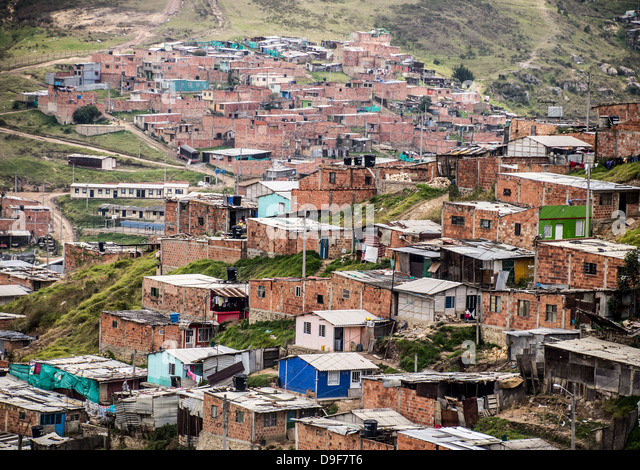 View of Ciudad Bolivar in the southwestern part of Bogota, Colombia. - Stock Image