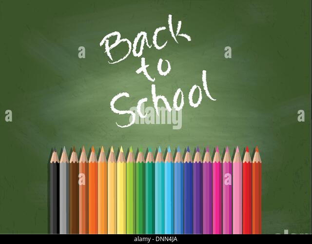 Back to school background with chalkboard and coloured pencils - Stock Image
