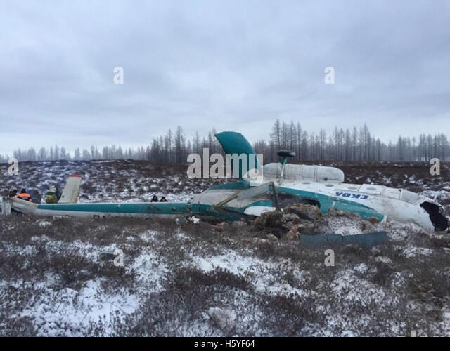 Yamalo Nenets Autonomous Area, Russia. 22nd Oct, 2016. A view of the Mil Mi-8 helicopter crash site. According to - Stock Image