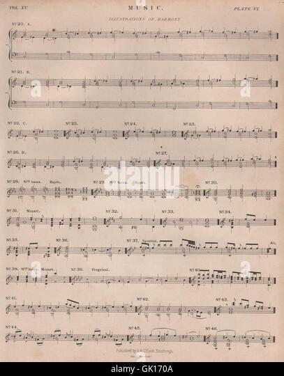 Music. Illustrations of Harmony. Haydn Mozart Pergolesi. BRITANNICA, 1860 - Stock Image