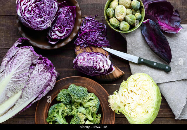 Many kinds of cabbage - red, broccoli, Brussels sprouts, white, napa cabbage. Ingredients for the preparation of - Stock Image