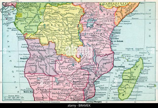 Map of Central Africa circa 1930. - Stock-Bilder