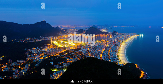 Rio de Janeiro south zone at night Ipanema and Leblon beaches  statue of Christ the Redeemer Lagoa Rodrigo de Freitas - Stock Image