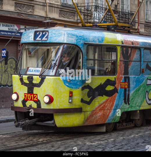 The nostalgic tram through Prague - Stock Image