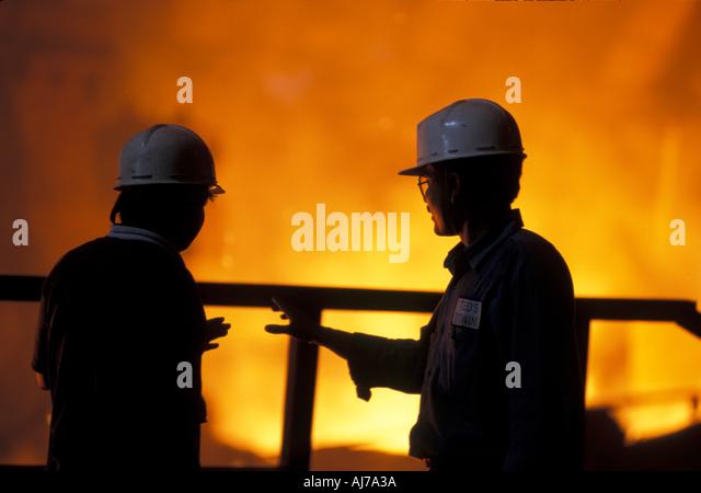 Workers at SAIL Steel Authority of India Ltd plant Bokaro Jharkhand India - Stock-Bilder