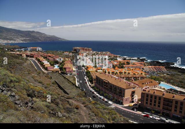view onto the tourist location and the sea, Canary Islands, La Palma, Los Cancajos - Stock Image