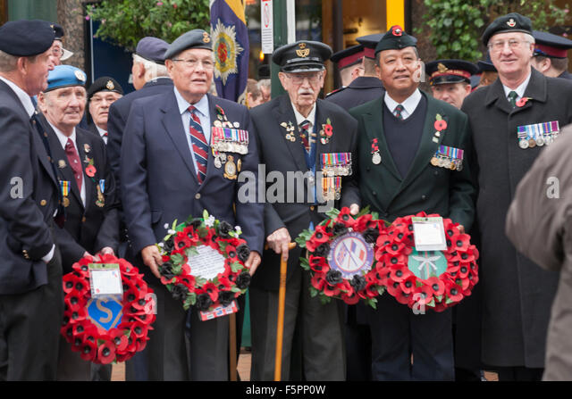 Bournemouth, UK Sunday 8 November 2015. Remembrance Sunday Parade and wreath laying - representatives of armed services, - Stock Image