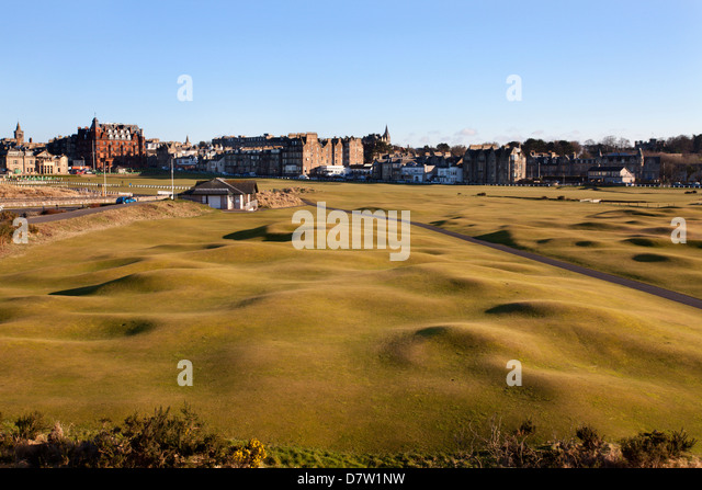 St. Andrews from the Clubhouse, Fife, Scotland, United Kingdom - Stock Image