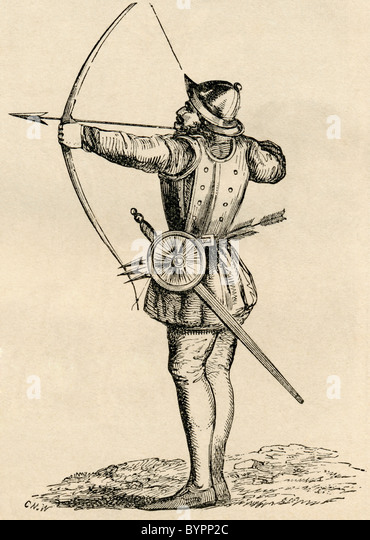 English Archer shooting longbow. - Stock Image