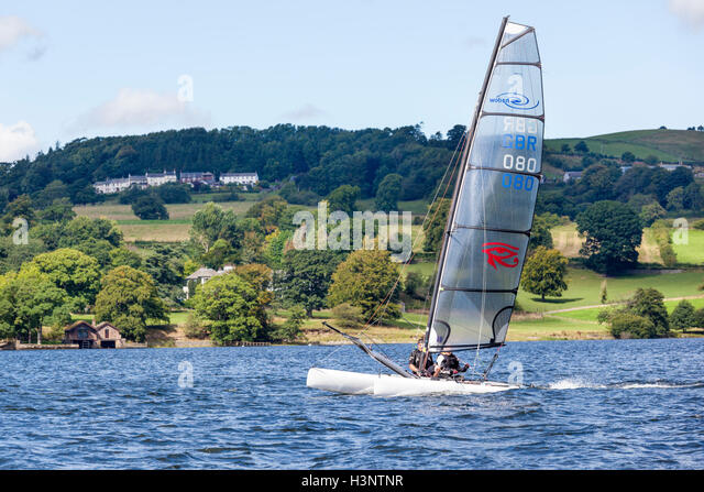 The English Lake District - Sailing on Ullswater, Cumbria UK - Stock Image
