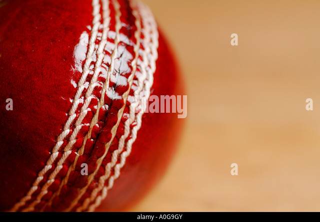 Close up of cricket ball - Stock Image