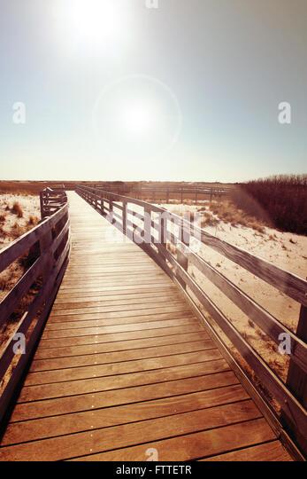 Wooden boardwalk near dunes - Stock Image