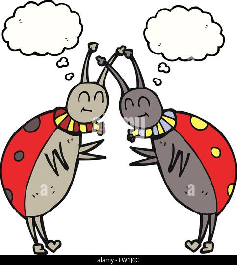 freehand drawn thought bubble cartoon ladybugs greeting - Stock Image