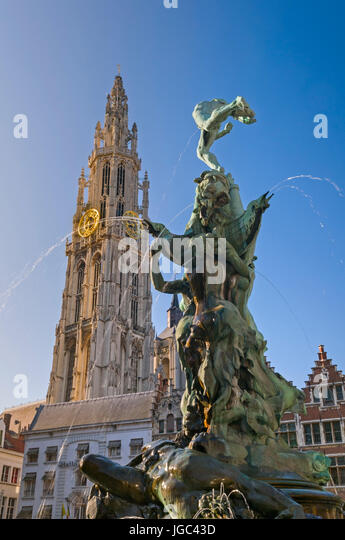 Brabo Fountain and Cathedral Grote Markt Antwerp Belgium - Stock Image