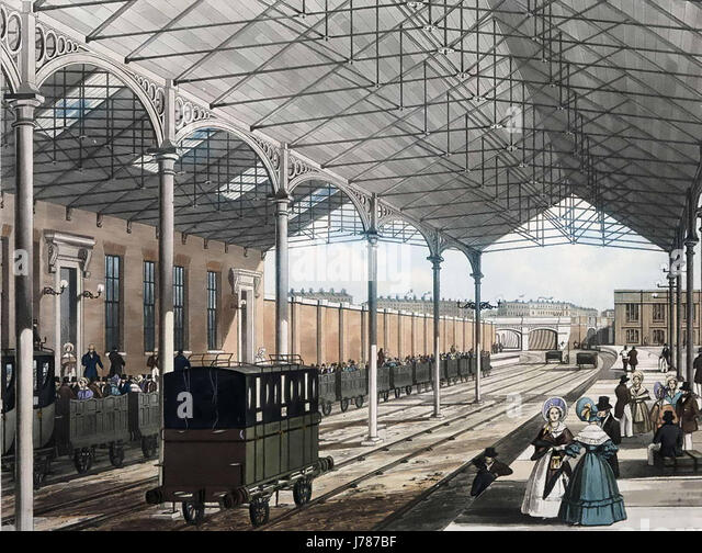 EUSTON STATION, London, in 1837 showing the wrought iron roof - Stock-Bilder