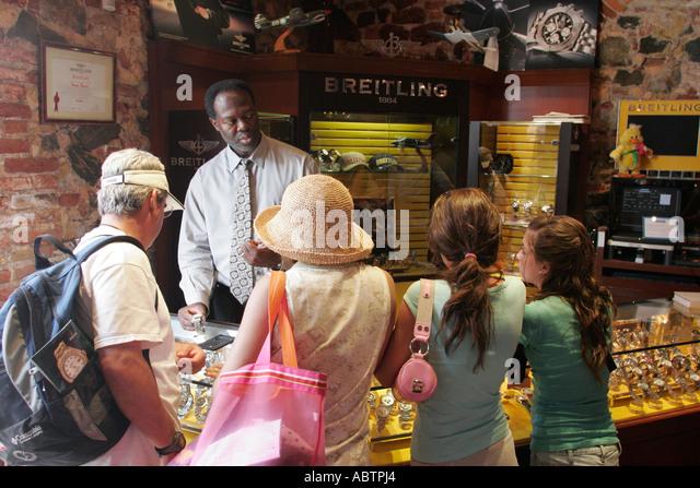 St. Thomas USVI Charlotte Amalie Main Street duty free shopping watches Breitling - Stock Image