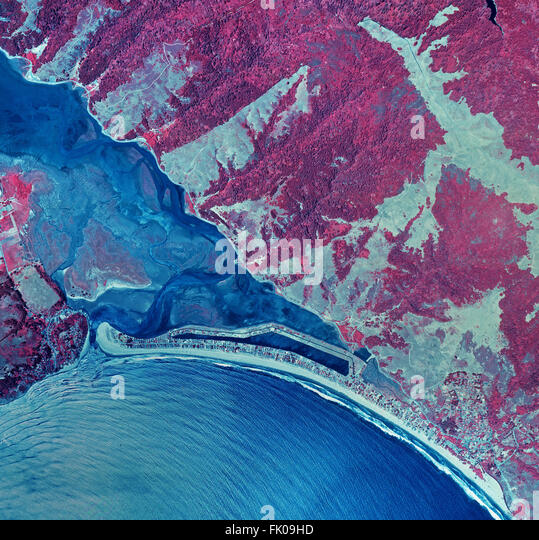 historical infrared aerial photograph of of Stinson Beach, Bolinas and the Bolinas Bay and Bolinas Lagoon, Marin - Stock Image