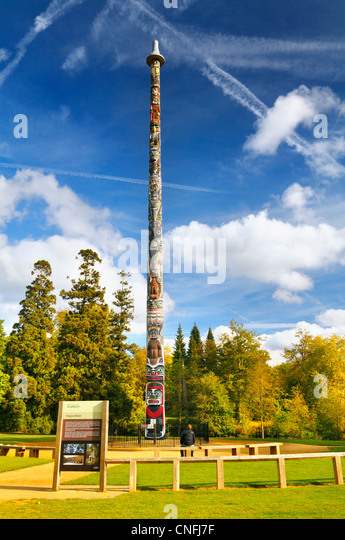 Totem pole in Windsor Great Park, Virginia Water, Surrey, UK - Stock Image