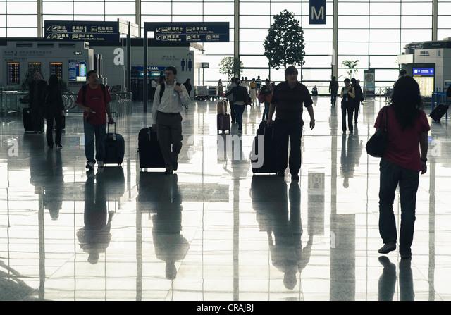 Interior of Terminal 2 at Pudong International Airport in Shanghai China - Stock Image