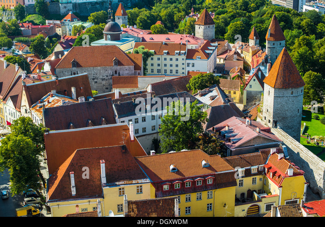 Rooftops of Tallinn, Estonia at the old city. - Stock Image