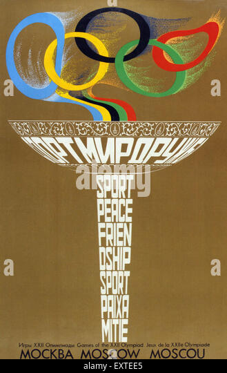1980s Russia Olympic Games Poster - Stock Image