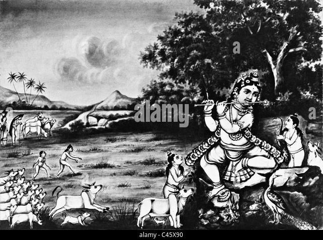 Worship of Krishna, 1910 - Stock Image
