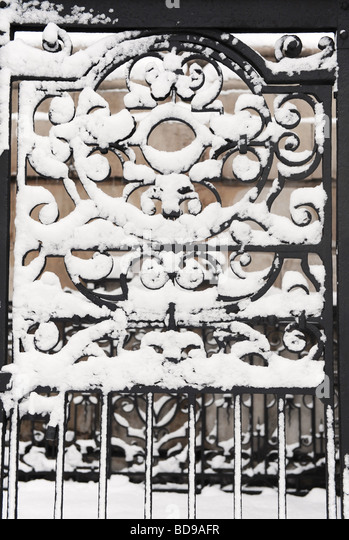 Black iron gate stock photos