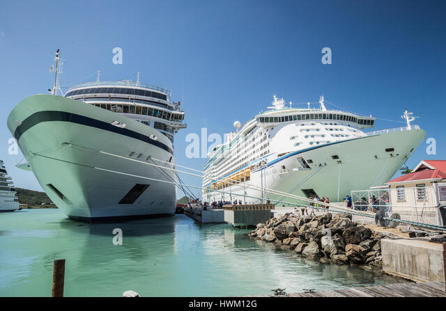 antigua st john's cruise liners in port - Stock Image