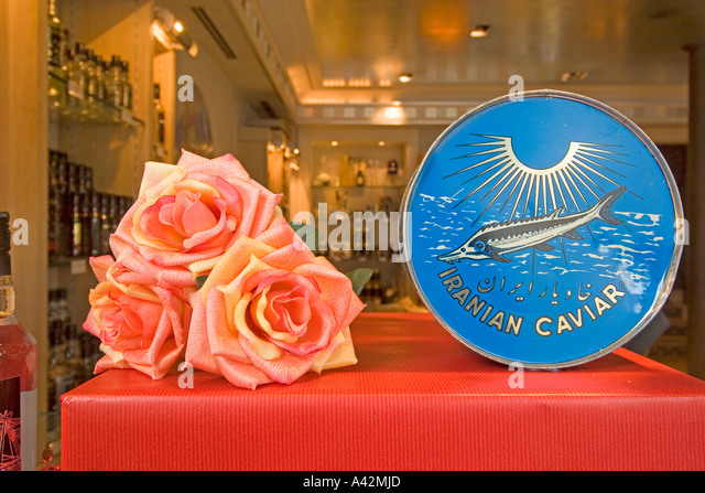 Paris France Place de la Madeleine Caviar house gourmet shop shop window with Caviar - Stock Image