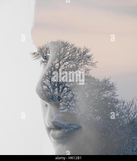 Girl and tree Photoshop manipulation - Stock Image